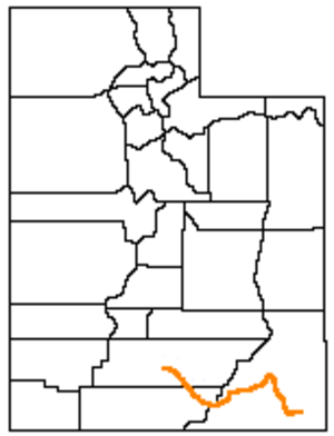 San Juan Expedition - Route of the San Juan Expedition through Utah