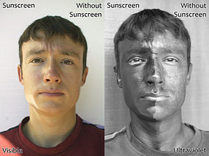 Two photographs of a man wearing sunscreen (sp...