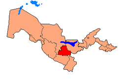 Map of Uzbekistan, location of Samarqand Province highlighted