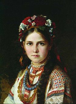 Ukrainian girl by Nikolay Rachkov (2nd half 19 c., Chernigov museum).jpg