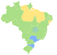 Map of Brazil displaying its first-level administrative divisions (Federative units) according to the category of their Human Development Index.