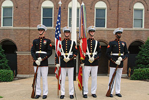 Flag of the United States Marine Corps - The Color Guard of the U.S. Marine Corps at the  Marine Barracks in Washington, D.C. in June 2007.
