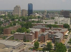 University of Kentucky student life - The North Campus residence halls, with downtown Lexington in the background.