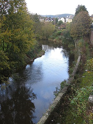 River Monnow - Upstream view of the river from Priory Street, Monmouth