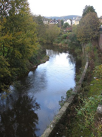 River Monnow - Upstream as seen from Priory Street, Monmouth