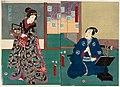Utagawa Kunisada II - Actors Nakamura Fukusuke I as Inuzuka Shino Moritaka and Iwai Kumesaburô III as Hikiroku's Daughter Hamaji.jpg
