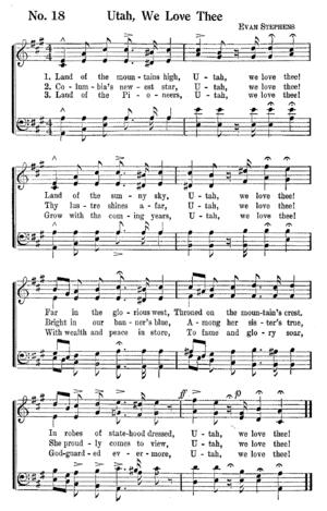 Utah, We Love Thee - From Deseret Sunday School Songs (1909)