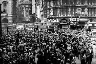 Victory in Europe Day - Crowds gathered in celebration at Piccadilly Circus, London during VE Day in 1945.