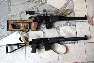 AS Val - A comparison photo shows the 'AS Val' on the bottom while its sister the 'VSS Vintorez' is shown on the top.