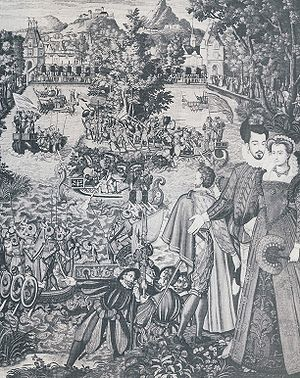 Catherine de' Medici's court festivals -  One of the Valois Tapestries, depicting entertainments at Fontainebleau in 1564, including the mock rescue of captive damsels from an enchanted island.