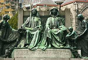 Van Eyck - A statue in Ghent, Belgium, depicts the van Eyck brothers, Hubert and Jan.