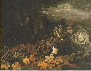 Still Life with a Basket of Potatoes, Surrounded by Autumn Leaves and Vegetables
