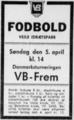 Vejle Boldklub v Boldklubben Frem, Danmarksturneringens 1. division 1964, advertisement Jyllands-Posten.png