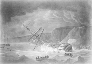 HMS Venerable (1784) - Loss of His Majesty's Ship Venerable... Shipwreck on the Night of 24 November 1804 on the Rocks in Torbay, by Robert Dodd