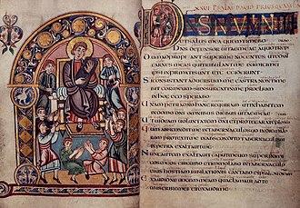 Vespasian Psalter - King David with his musicians; start of Psalm 27