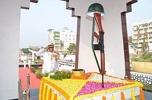 Vijay Diwas (India) - Vice Admiral Bimal Verma pays tribute to the martyrs at War Memorial, Visakhapatnam on Vijay Diwas 2014.