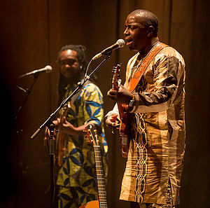 Music of Mali - Vieux Farka Touré (right) and Valery Assouan are two international known musicians from Mali. The photograph is from a concert in Oslo in 2016.