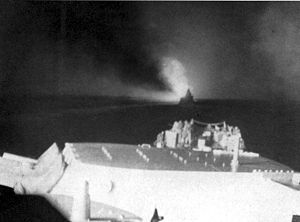 Battle of Empress Augusta Bay - View forward from USS Columbia during the Battle of Empress Augusta Bay. The ship visible ahead should be USS Cleveland.