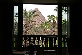 Marriott Mena House Hotel - View on the pyramids from the Mena House