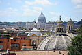 View of St. Peter's Basilica through domes of Santa Maria dei Miracoli and Santa Maria in Montesanto -twin- Churches, Rome, Italy.jpg