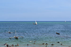 View out to sea on Nyali Beach during high tide from the Reef Hotel, Mombasa, Kenya 2.jpg