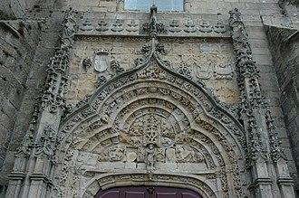 Vila do Conde - The Manueline-style church portico in the Matriz Church along Rua da Igreja, constructed from the wealth of Portuguese discoveries