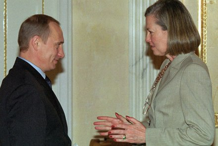 Vladimir Putin with Journal correspondent Karen Elliott House in 2002 Vladimir Putin 11 February 2002-1.jpg