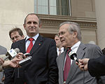 Vlado Bučkovski and Donald Rumsfeld speak to the press following their meeting in the Pentagon on October 26, 2005.jpg