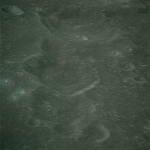 Argelander (crater) - Oblique view Vogel (center) and Argelander (top), facing south, from Apollo 16