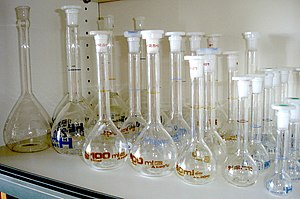 Volumetric flask - Volumetric flasks of various sizes.
