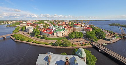 The historical center of Vyborg Vyborg June2012 View from Olaf Tower 06.jpg