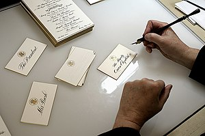 White House Chief Calligrapher - Place cards being calligraphed before a state dinner.