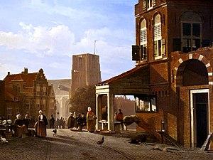 Woudrichem - Image: WLANL Sandra Voogt De vismarkt van Woudrichem, ca. 1850