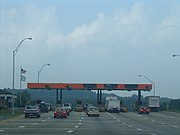 A toll plaza West Virginia Turnpike.