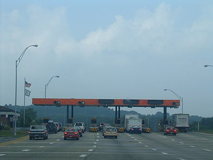 A toll plaza on the West Virginia Turnpike WVtollbooth.jpg