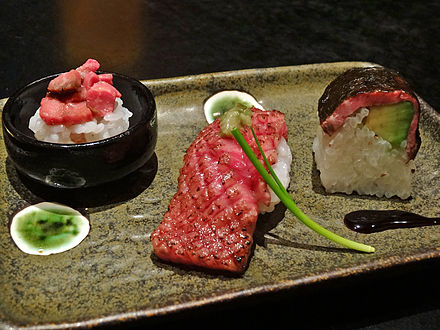 Sushi made of meats other than fish (whether raw or cooked) is a variation often seen in Japan. Wagyu sushi 01.jpg
