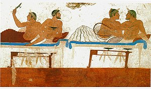 Homosexual couples at a symposium, as depicted on a fresco in the Tomb of the Diver, Paestum, Italy