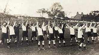 1908–09 Australia rugby union tour of Britain - Wallabies pre-match war-cry
