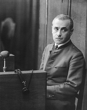High Command Trial - Walter Warlimont in the defendants dock of the High Command Case at Nuernberg