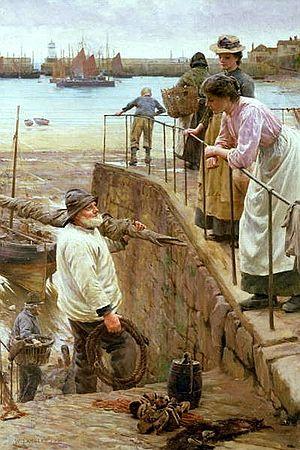Smock-frock - Walter Langley, Between The Tides, 1901, Fishermen wear knit-frocks and fisherman's smocks