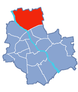 Location of Białołęka within Warsaw