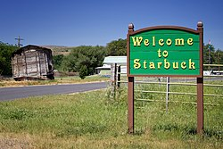 Welcome sign in Starbuck