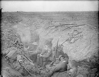 3rd Guards Brigade (United Kingdom) - Men of the 1st Battalion, Welsh Guards resting in a reserve trench near Guillemont, France, during the Battle of the Somme, 3 September 1916.