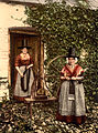 Welsh spinners and spinning wheel, Wales, photochrom, ca 1890-1900.jpg