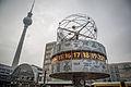 Weltzeituhr and Fernsehturm at Alexanderplatz (15186345718).jpg