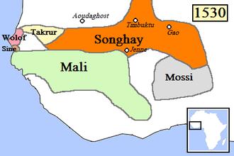 Mossi Kingdoms - Area occupied by Mossi Kingdoms, c. 1530.