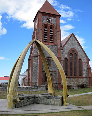 Stanley, Falkland Islands - The cathedral and whalebone arch