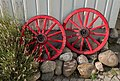 Wheels as garden art at Gamla Strandgatan 10, Gamlestan, Lysekil 3.jpg