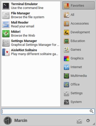 Xfce - Whisker Menu - an alternate application launcher for Xfce.