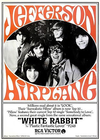 "Poster for Jefferson Airplane's song ""White Rabbit"", which describes the surreal world of Alice in Wonderland White rabbit.JPG"